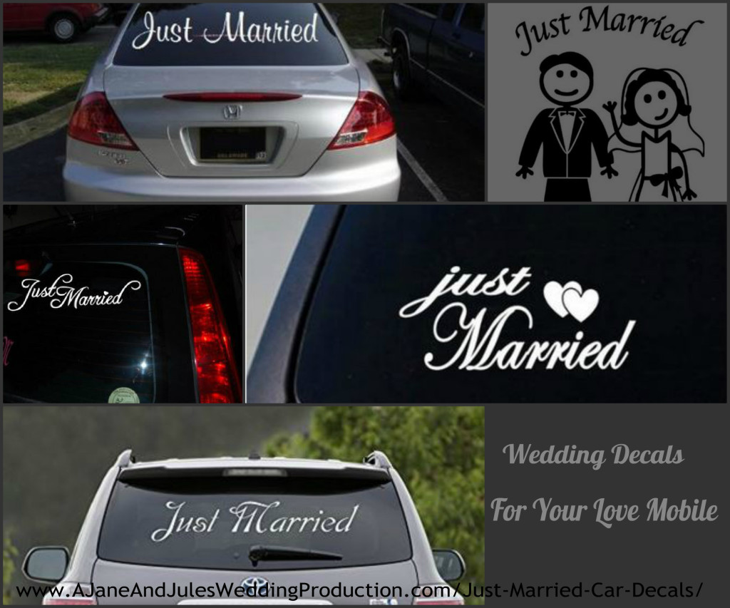 Just Married Decals for Car Collage
